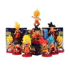 10 Stks/partij 8 Cm Dragon Ball Z Super Saiyan Wcf Battle God Goku Rood Blauw Haar Dragonball Pvc Action Figure model Collection Toy