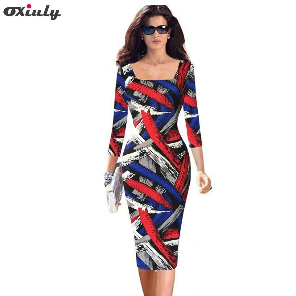Oxiuly plus size 4xl 5xl womens elegante vintage rockabilly colorido listra imprimir pinup fino casual festa lápis vestido cabido