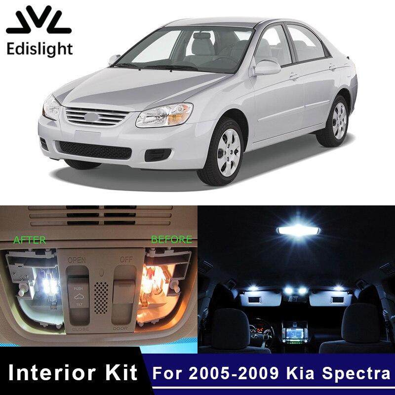 Edislight 8 pçs gelo azul branco led lâmpada carro lâmpadas pacote interior kit para 2005-2009 kia spectra mapa cúpula tronco placa luz