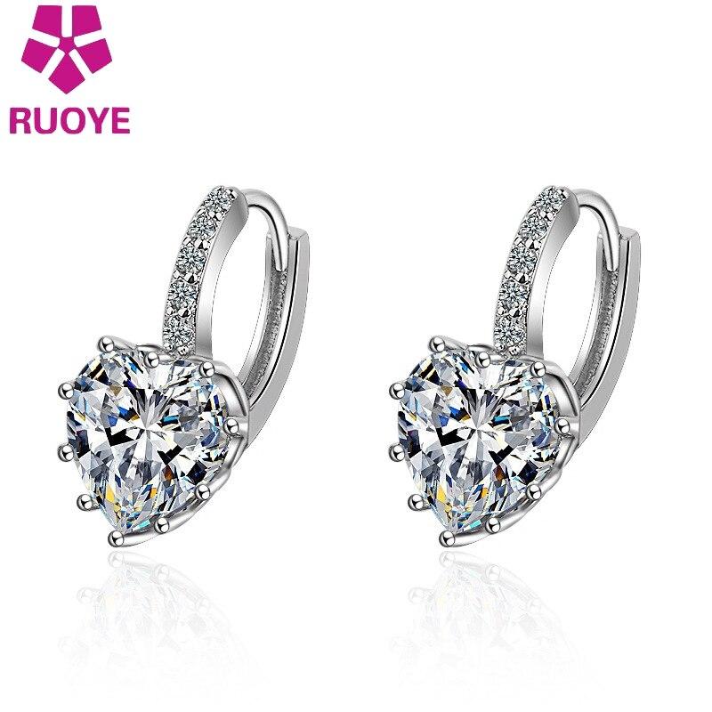 Brinco de cristal de luxo da moda, 9 cores, brinco com tarraxas de design aaa, coração, para mulheres, joias de alta qualidade, atacado