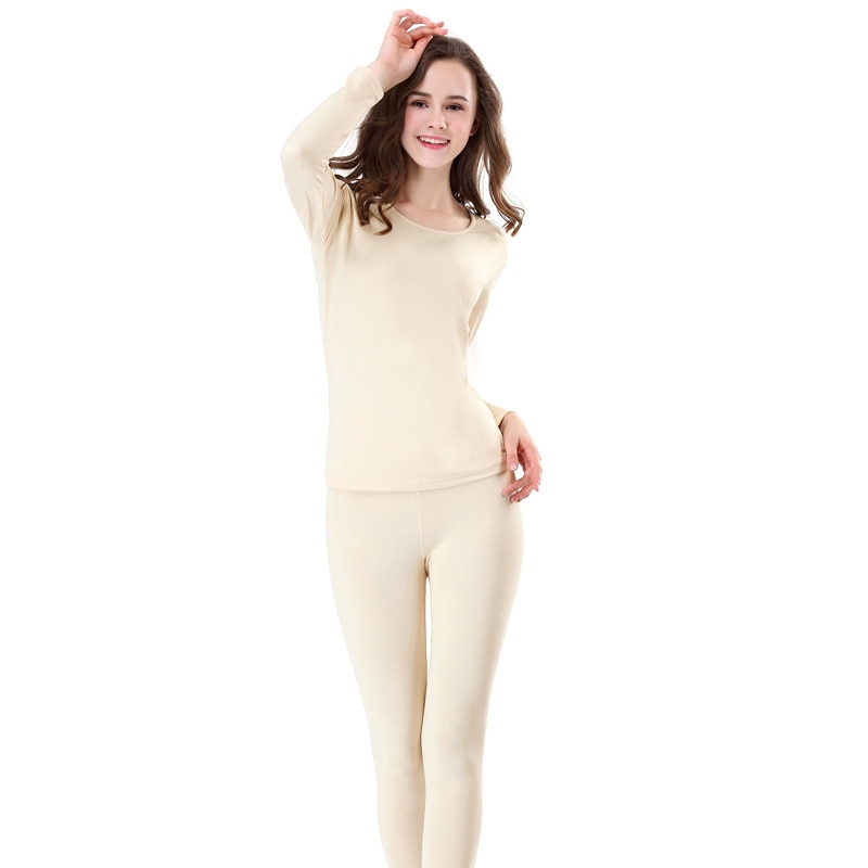Thermal underwear female thin section (plus velvet) round neck Slim body base base XL autumn pajamas thermal underwear enlarge