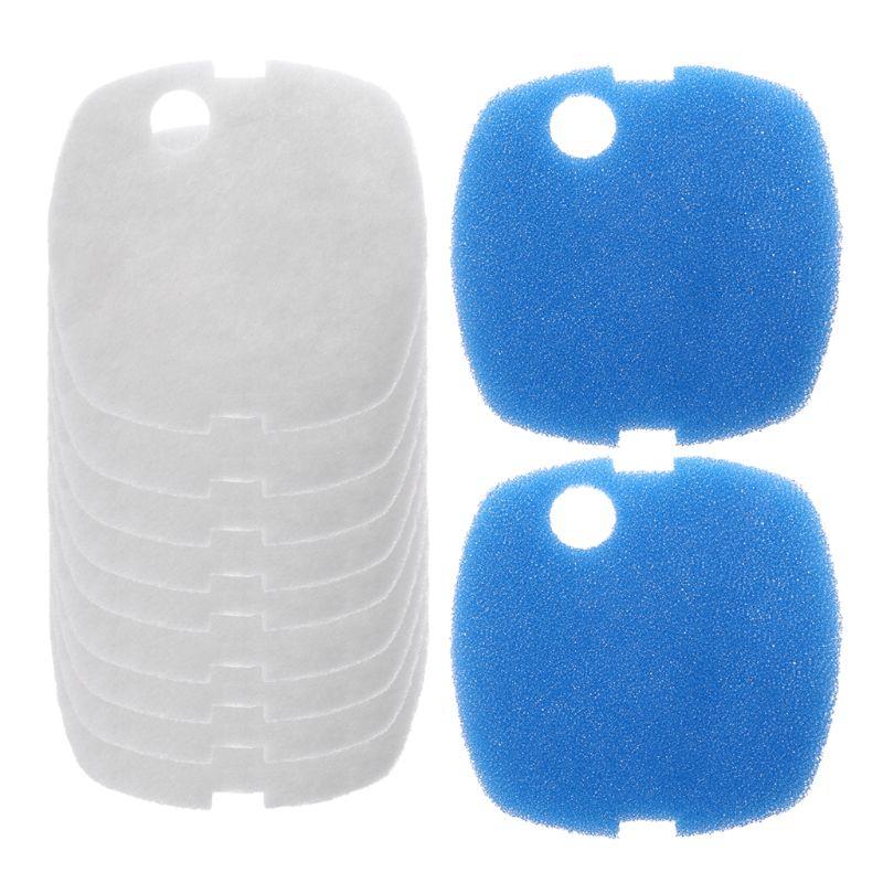 10pcs Aquarium Filter Pads for SUNSUN HW-302/505A Canister Filter Cask White+Blue Sponge Filter Pads