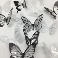 18 шт./компл. черно-белый кристалл стикер на стену с бабочками для детских комнат художественная фреска на холодильник свадебное украшение н...