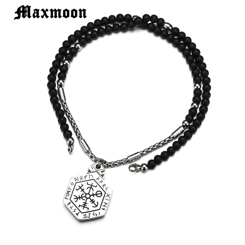 Maxmoon casco vikingo islandés Vegvisir Horror en círculo rúnico colgante mágico brújula con pentagramas amuleto de runas collar Collier