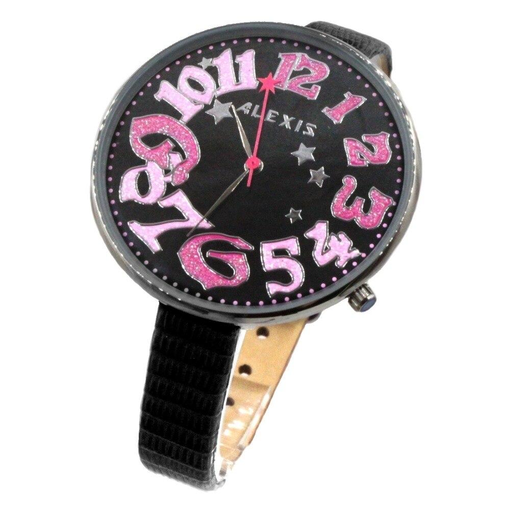 Alexis Ladies Fashion Analog Quartz Round Watch Japan PC21J Movement Black Geninue Leather Strap Black Dial Water Resistant enlarge