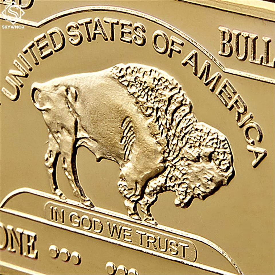 Gold Plated Bullion Beauty Bar United States Of America 1 Troy Ounce Replica Gold Clad Buffalo Bar