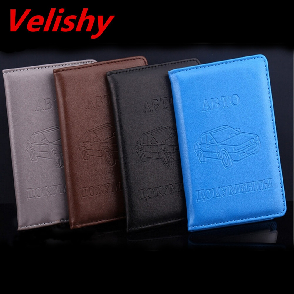 Velishy Russian Auto Driver License Bag PU Leather On Cover For Car Driving Documents Card Credit Holder Purse Wallet Case passport cover genuine leather driver license bag crazy horse leather car driving document credit card holder purse wallet case