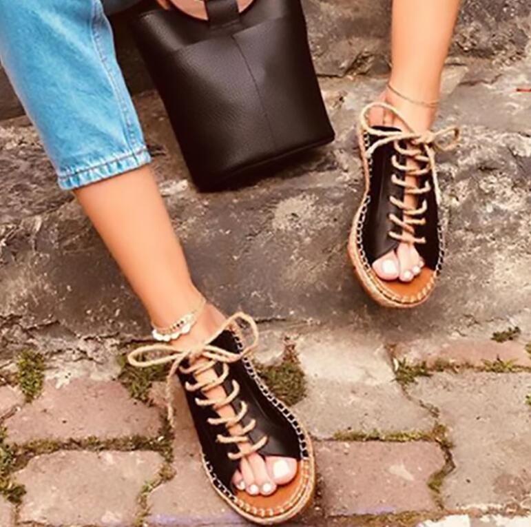 Mulheres verão Casule Escândalo Plana Cinta Fivela Do Dedo Do Pé Aberto Boca de Peixe Sapatos Femininos Peep Toe Tecelagem Corda de Cânhamo Sandálias Das Senhoras sapatos