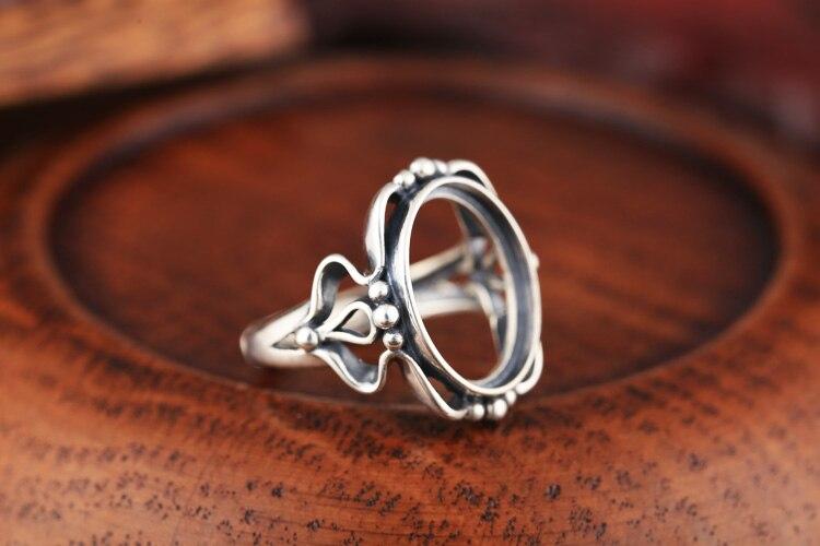 10 unids/lote Art Nouveau Plata de Ley 925 mujeres compromiso anillo de boda for13x16mm cabujón ovalado Semi montaje joyería fina