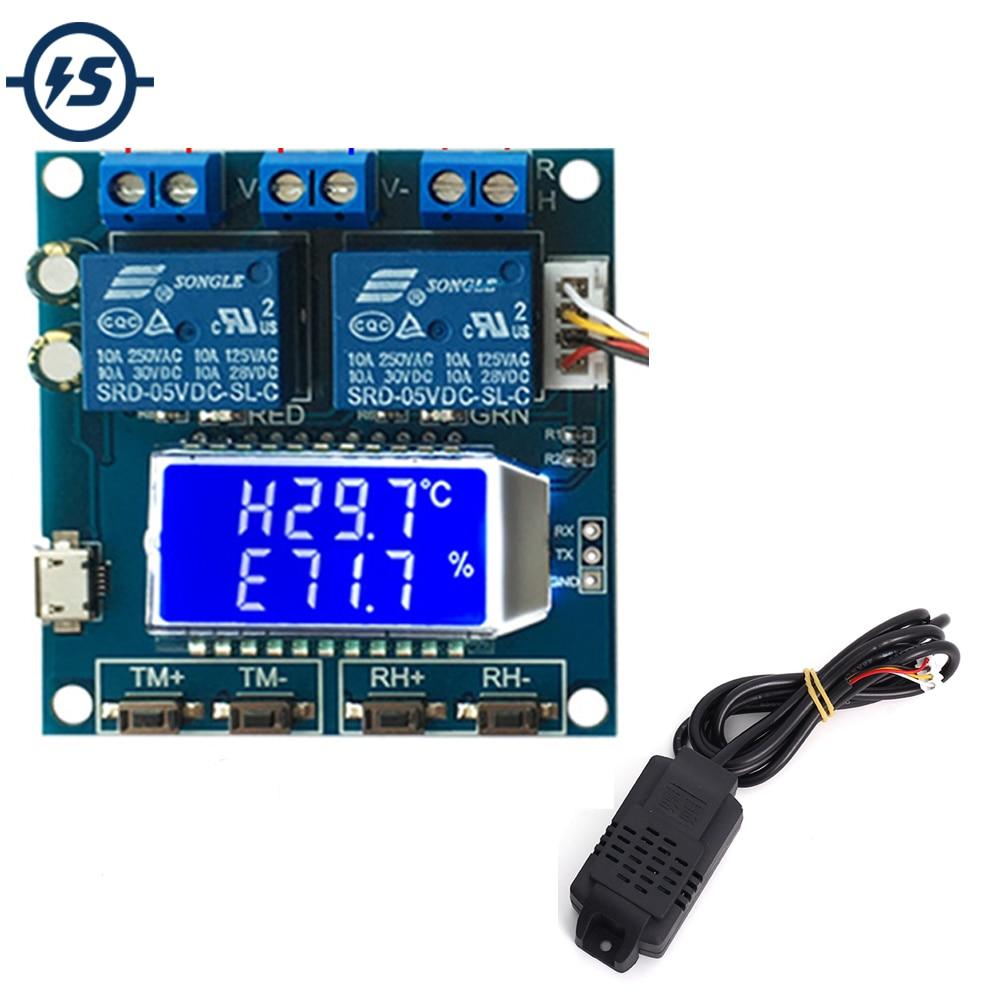 Módulo controlador de temperatura de humedad SHT20 DC 12V 0-100% RH-20-60 Celsius pantalla LCD Digital 2-módulo de canal de relé