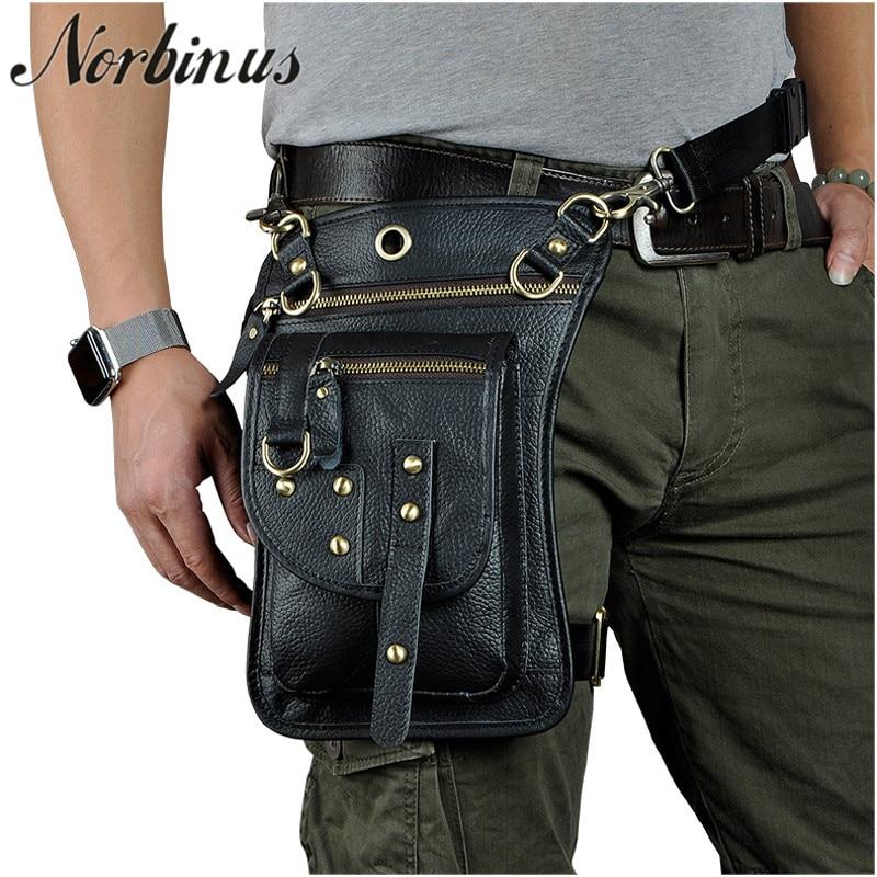 Поясная Сумка Norbinus из натуральной кожи, поясная сумка для мужчин, сумка-мессенджер для мотоцикла, Сумка с крючком
