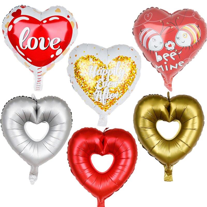10 unids/lote globos decorativos de aluminio de amor de aniversario 18 pulgadas decoración de globos para bodas baby shower niño niña fiesta suministros