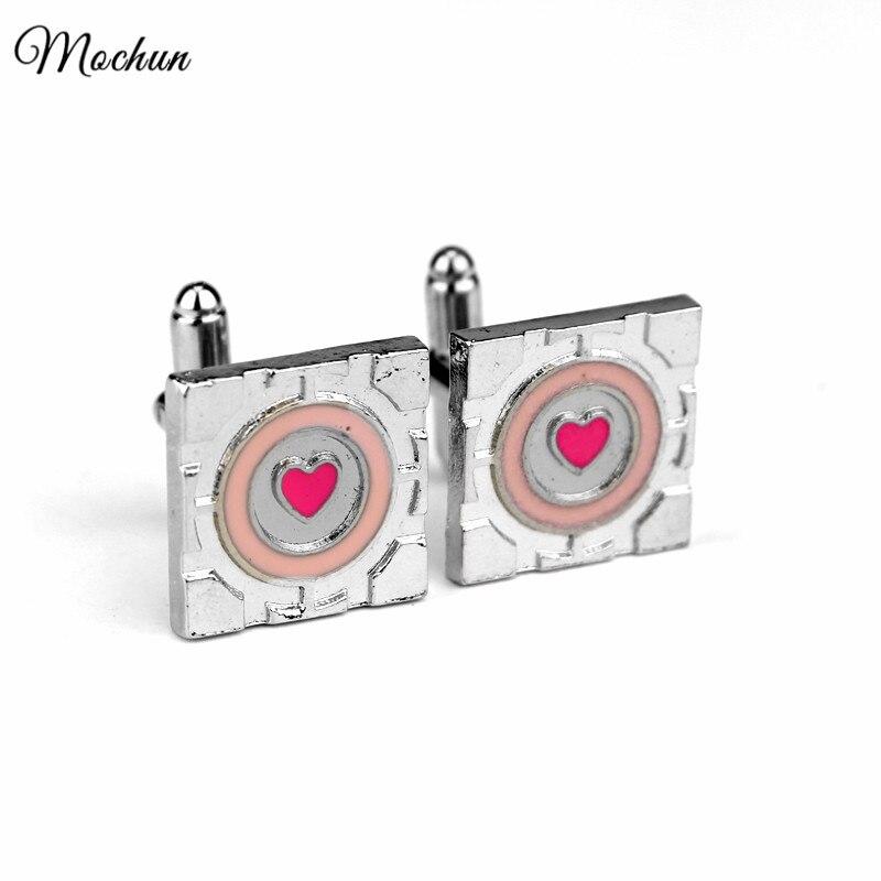 Gemelos de esmalte de corazón Rosa MQCHUN para hombre, joyería de boda, superventas, Portal de juego, 2 Gemelos de cubo, Gemelos de marca, botón para puños