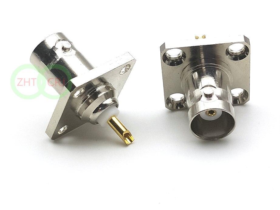 50 pces cobre bnc jaque fêmea com 4 furos flange painel chassis montagem conector de solda