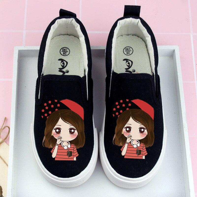 أحذية قماشية مرسومة يدويًا للبنات ، قبعة كرتونية للأميرات الصغيرة ، أحذية طلابية غير رسمية AB ، مقاس 26 - 34 #1