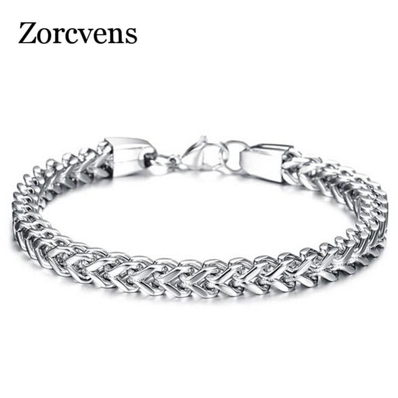 Zorcvens três cores 316l corrente de aço inoxidável dos homens pulseiras pulseiras moda jóias