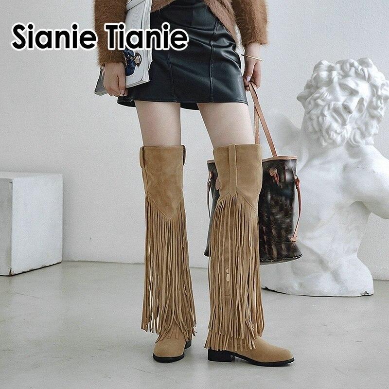 Sianie tianie inverno outono grossos saltos cowgirl cavalo equitação botas longas sobre o joelho coxa botas altas com borlas franjas