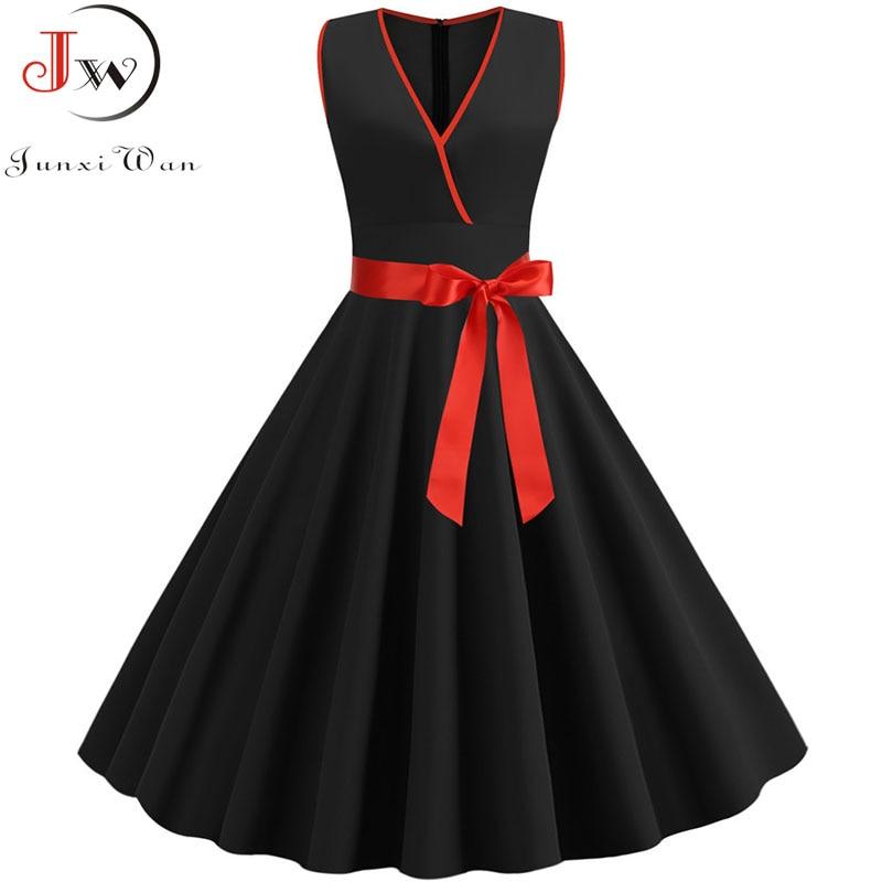 2019 Black V Neck Sleeveless Vintage Dress Women Summer Solid Color Party Dress Robe Rockabilly Vestidos Plus Size Sundress