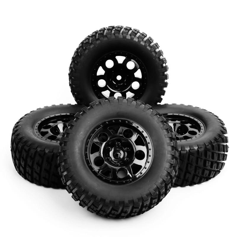 Купить с кэшбэком 4pcs/set RC 1:10 short course truck tires&wheel 12mm hex fit for TRAXXAS SlASH car rim tires tyre