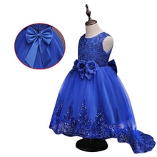 Girls Sleeveless Princess Children Sequins Flower Girl Dress For Wedding 2-12 Years Girls Trailing Party Prom Dresses