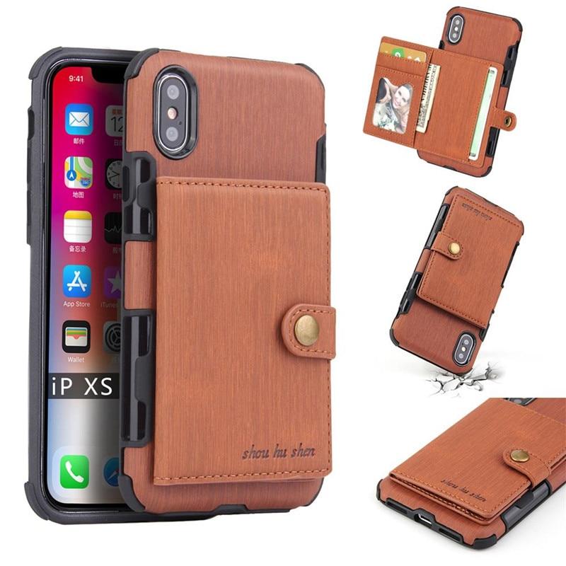 De luxe Mince portefeuille en cuir synthétique polyuréthane étui pour iphone X XR XS Max 7 8 6 6 s Plus Antichoc Fente Pour Carte Kickstand Téléphone Couverture de Téléphone