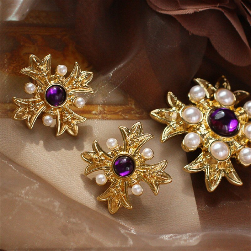 Retro fashion imitation pearl semi-precious stone cross brooch 925 silver needle stud earrings ear clip necklace suits