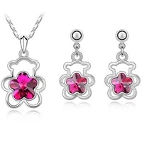 crystal flower bear pendant necklace earrings fashion jewelry sets cute romantic dropshipping valentines gifts top quality