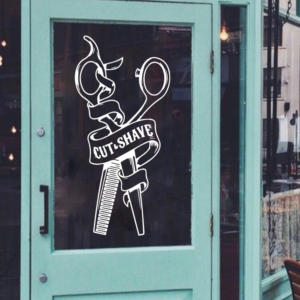 Pegatina de pared de tienda de peluquero de dibujos animados, pegatina de vinilo para decoración de habitación, pegatina para peluquero, adhesivo comercial para peluquería, Adhesivo de pared