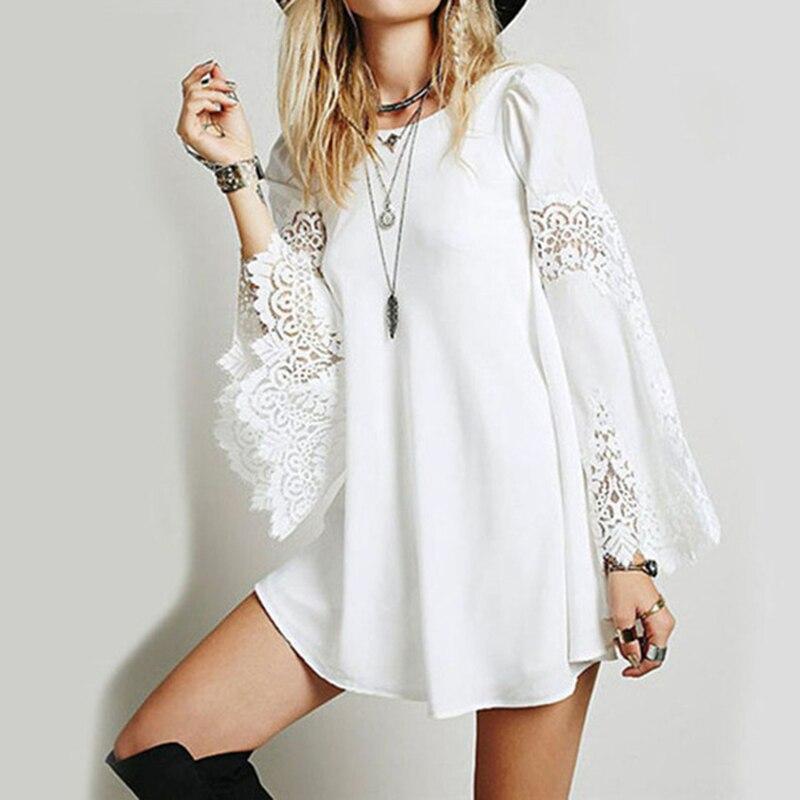 Blusa de encaje Sexy suelta ahueca hacia fuera las Blusas de manga larga Camisa blanca moda Camisa Mujer mujeres Top Blusas femeninas Elegante