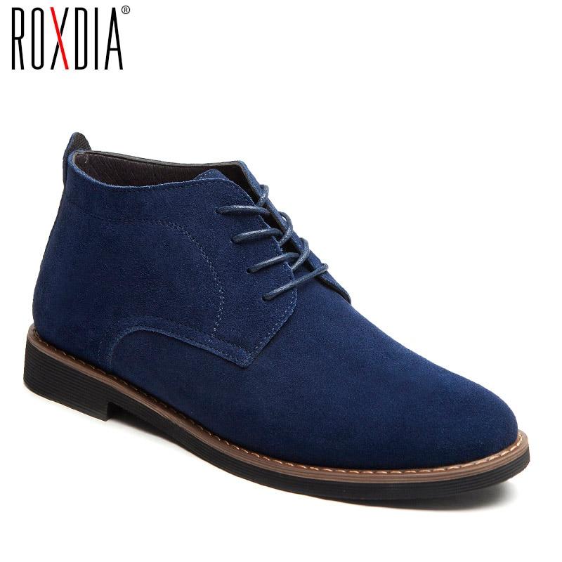 ROXDIA جلد أصلي للرجال أحذية كل موسم أحذية عمل الذكور الدانتيل يصل للرجل حذاء من الجلد مع الفراء الأسود حجم كبير 39-48 RXM099