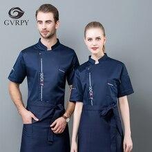 Unisexe respirant à manches courtes Chef uniforme été cuisine veste de cuisine cantine restauration coiffeurs Salon travail veste M-4XL