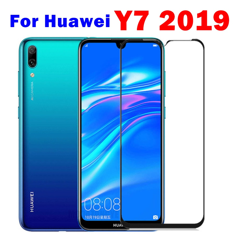 1-2pcs protective glass for huawei y7 2019 safety glass hauwei huavei y7 pro 2019 y7pro 7y y 7 y tempered glas front film trem