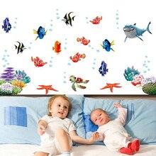Nemo-autocollant mural étanche   Autocollant sous le poisson de requin marin, 3D de dessin animé, pour les enfants, chambres, salle de bain, décor de chambre denfants