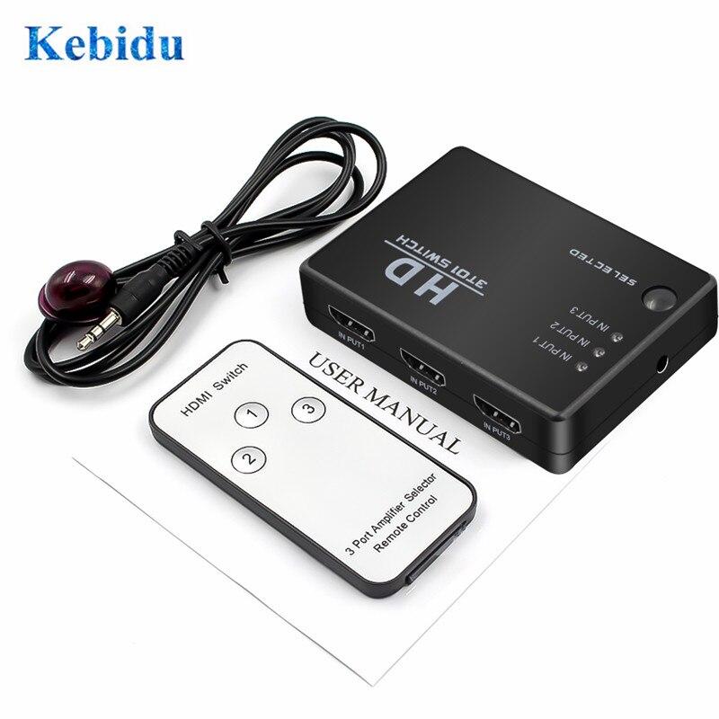 KEBIDU 3 puertos de vídeo conmutador HDMI Splitter Box Hub para PS4 para Xbox uno HDTV Monitor de DVD + control remoto IR receptor IR