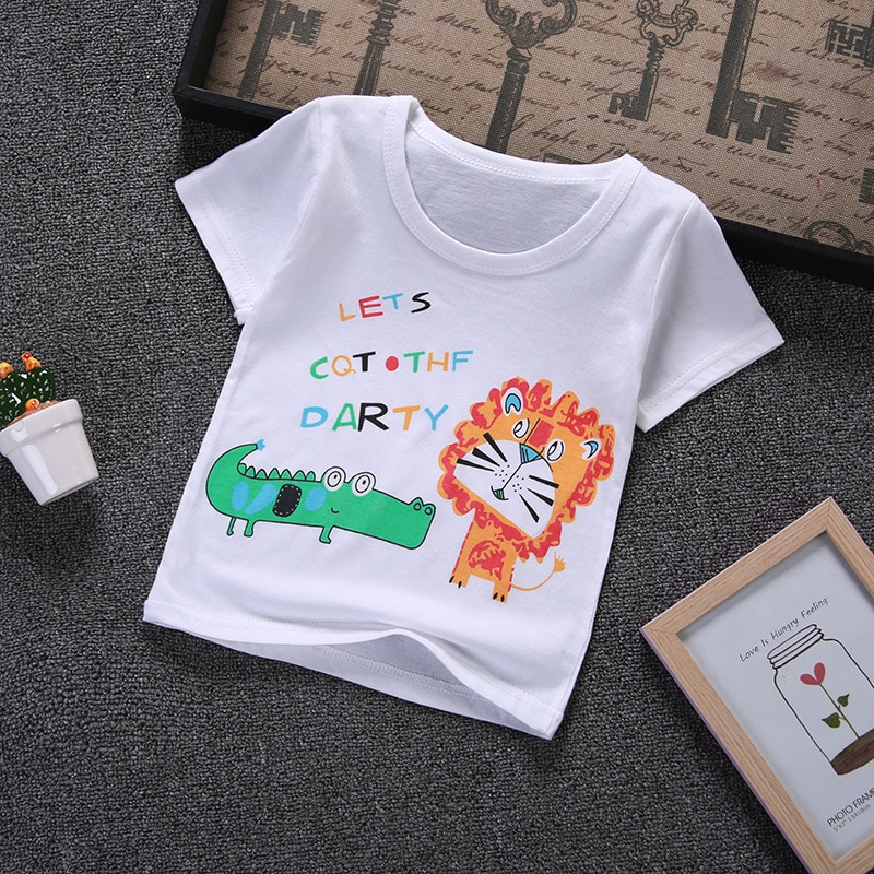 Новинка 2019, летняя детская футболка с коротким рукавом, футболка для маленьких мальчиков и девочек с героями мультфильмов, качественная хло...