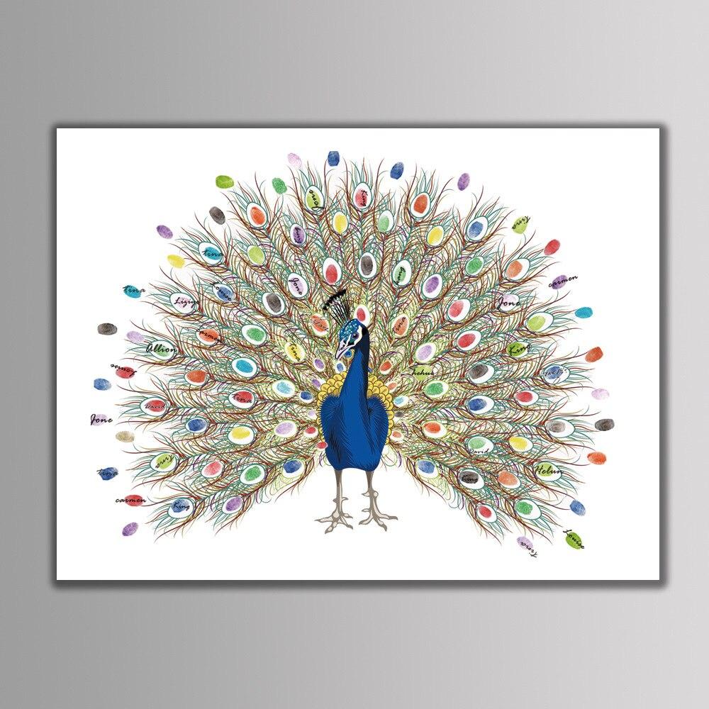 Lienzo personalizado creativo de pavo real para boda Babyshower graduación huella digital árbol libro de firmas de invitados pintura con almohadilla de tinta