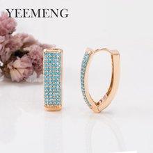 YEEMENG Gold Farbe Hoop Ohrring V-förmigen Super Breite Micro-intarsien Blau Künstliche Stein Ohrringe Ohr Schnalle Dame mode Schmuck