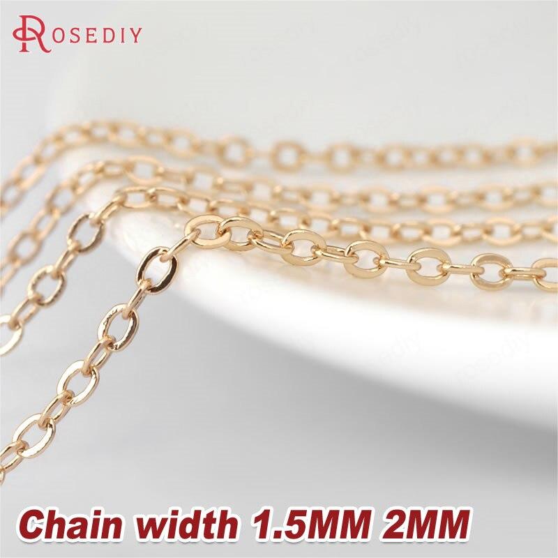 2 метра ширина: 1,5 мм 2 мм 24K цвета шампанского золото латунные плоские овальные цепочки ожерелье цепи высокое качество ювелирные аксессуары