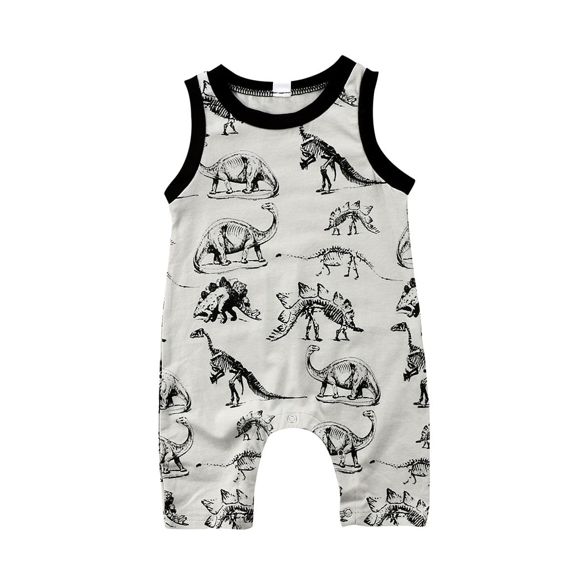 2018 bebé niña niño sin mangas dinosaurio algodón Romper mono Anime verano ropa Casual traje