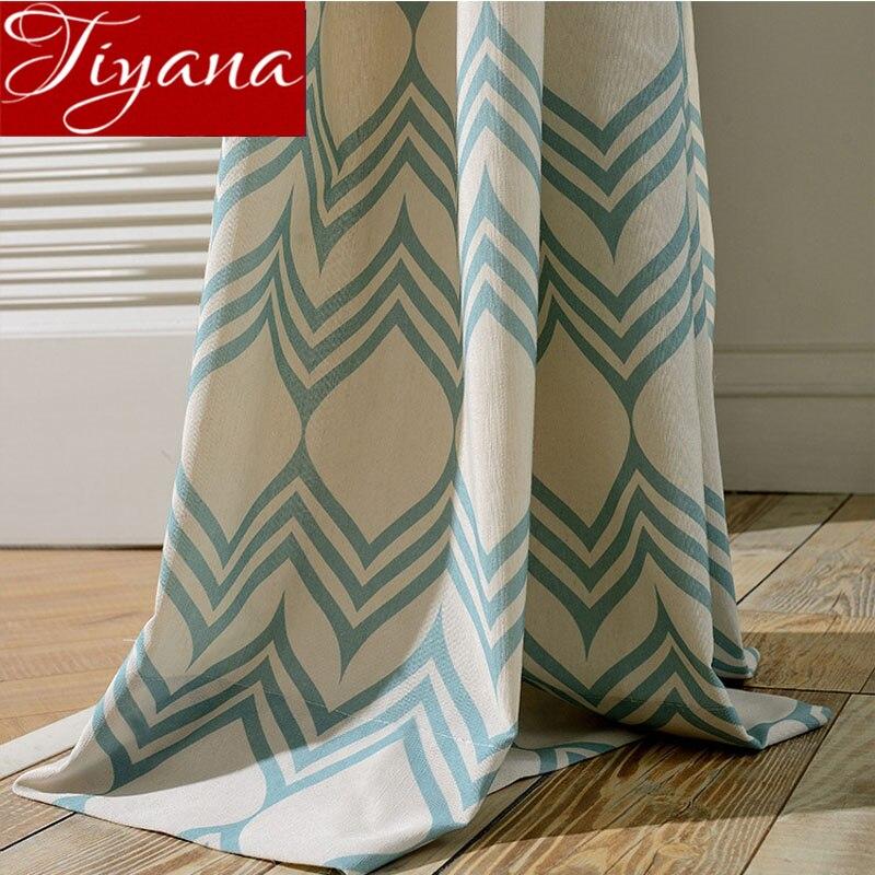 Azul cortinas para sala de estar geométricos de tul. Cortina de ventana blanca habitación tratamiento cocina tejidos pura cortinas T y 104 30