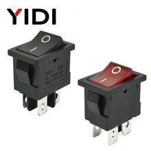 6A 250VAC KCD1-104 interrupteur à bascule 4pin On Off DPST 12 V 220 V lampe rouge noir verrouillage 15x21 interrupteur Rocekr