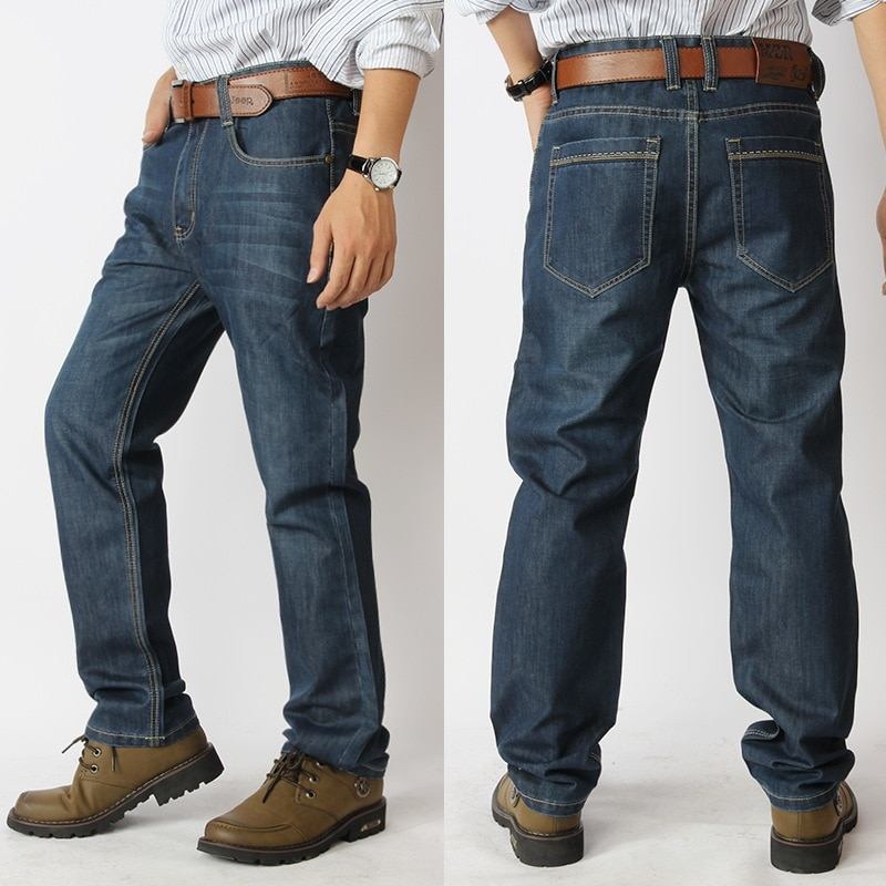 Brand Jeans Men's Straight Hole Denim Jeans Trousers casual Jeans Plus Size 32-52