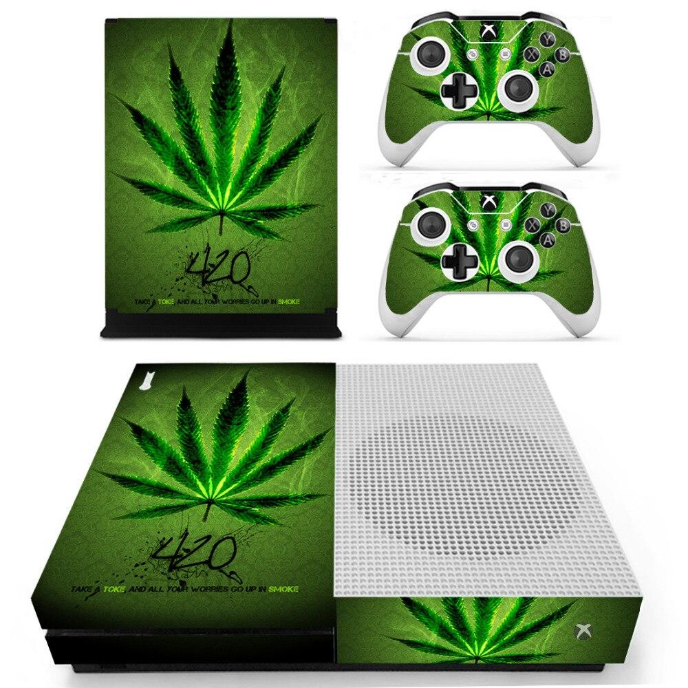 Etiqueta engomada de la piel de la hierba de la hoja verde para Microsoft Xbox One S consola y controladores Skins pegatinas para Xbox One vinilo delgado de la piel