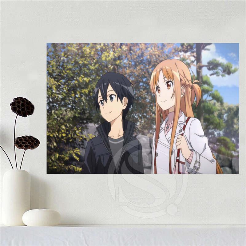 Lona Feita Sob Encomenda quente Espada de Arte Em Linha Asuna cartaz casa decoração tecido pano de Tecido de Seda De impressão do cartaz da parede Impressão SQ0619-tyju4673