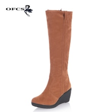 ¡Novedad de 2020! Botas de nieve gruesas y cálidas de piel para mujer, zapatos de tacón alto sexis con cuña y punta redonda con plataforma hasta la rodilla, botas largas de invierno