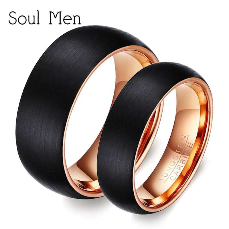 Alma homem 1 par de anéis de casamento de carboneto de tungstênio estilo conjunto preto rosa banda de ouro para casais amantes 6mm para ela 8mm para ele