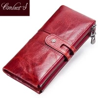 contacts women purses long zipper genuine leather ladies clutch bags with cellphone holder high quality card holder wallet