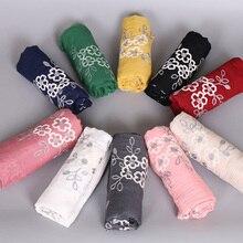 Popular women embroider floral shawls hijab nice headband winter muffle wrap muslim winter scarves/scarf  10 color 10pcs/lot