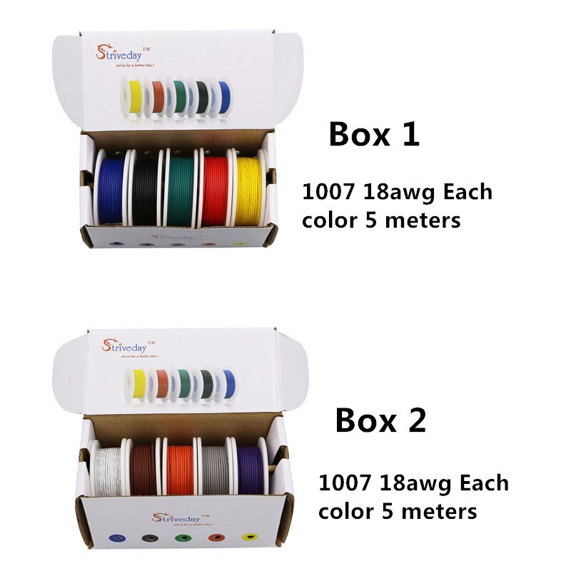 UL 1007 18awg 50m Cable 10 colores mezcla Kit caja 1 + Caja 2 cables trenzados línea eléctrica línea de cobre PCB Cable DIY