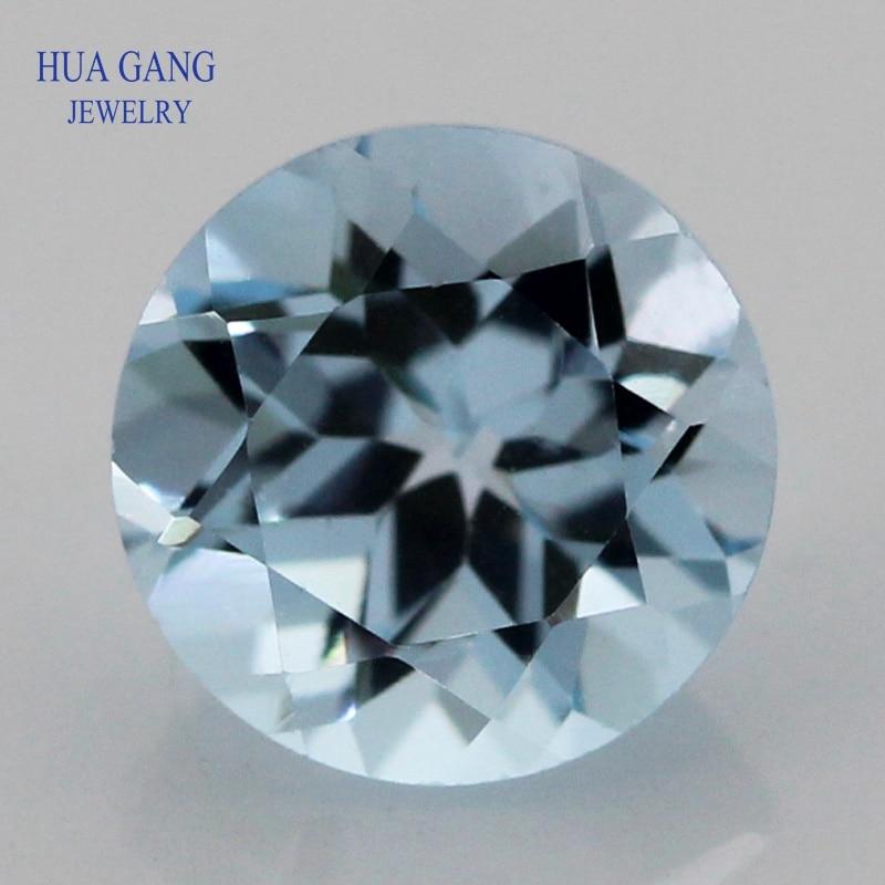 Topacio azul cielo piedra preciosa Natural suelta forma redonda tallada tamaño 1,0 ~ 10mm para hacer joyería DIY